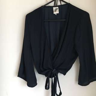 General Pants Cropped Silky Wrap Top