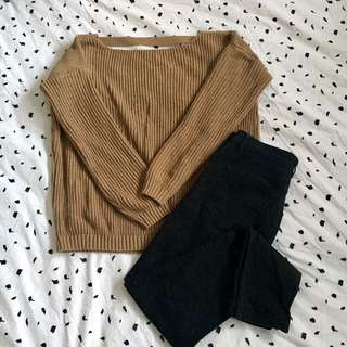 Camel Knit Jumper w/ Open Back