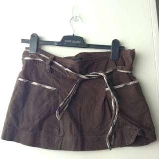 Mango Brown Mini Skirt