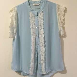 網路韓貨品牌Puree水藍色雪紡上衣