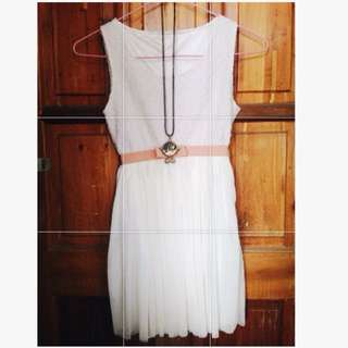 REPRICED! White Semi-Casual Dress With Ribbon