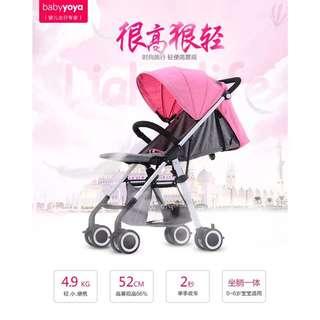 【現貨/玫瑰粉】baby yoya/aiqi《四代超輕便高景觀嬰兒推車》(假日限定包郵)賣場最低價