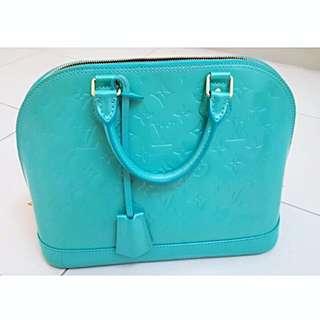 💯% Authentic Louis Vuitton LV Turquoise Vernis Alma Tote Bag In Pm