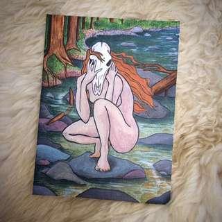 Hand Painted Acrylic Painting - Elk Skull River Spirit Forest Goddess