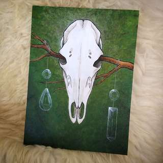 Hand Painted Acrylic Painting - Elk Skull And Crystal Prisms