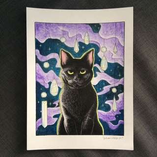 Original Drawing - Watercolour And Own Black Cat And Prisms Witch