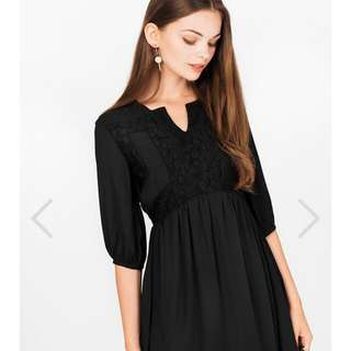 The Closet Lover Adela Baby Doll Dress In Black Size L