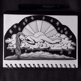 Original Drawing - Black And White Goddess Nature Landscape Mountain Sun Clouds