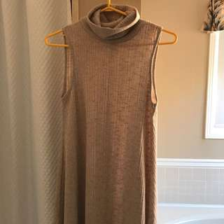 nude ribbed turtleneck dress