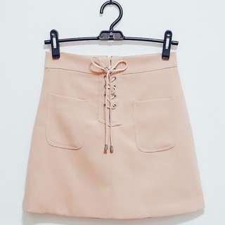 98🆕粉色繫帶百搭修身顯瘦短窄裙 Size:M