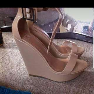 Nude Leather Upper Strap Heels