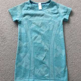 light blue patterned sports top