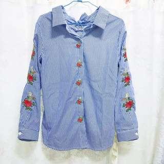 玫瑰刺繡蝴蝶結綁帶襯衫 #兩百元襯衫