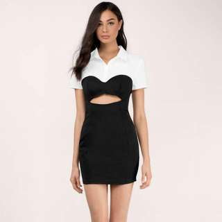 Trendy Black And White Bodycon Dress