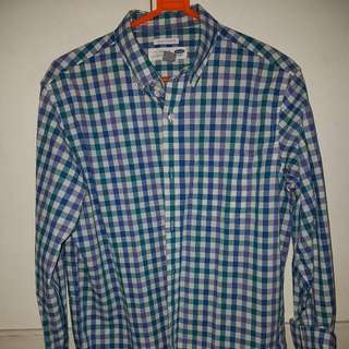 (M) Old Navy - Blue Plaid Long Sleeved Button Down