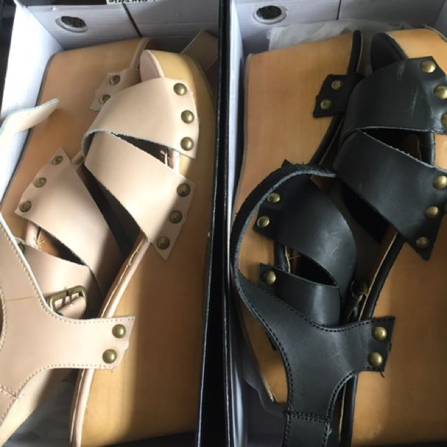 2 Pairs of Rubi Clog Wedge Sandals - Size 40