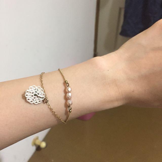 百貨專櫃花型串珠金手鍊
