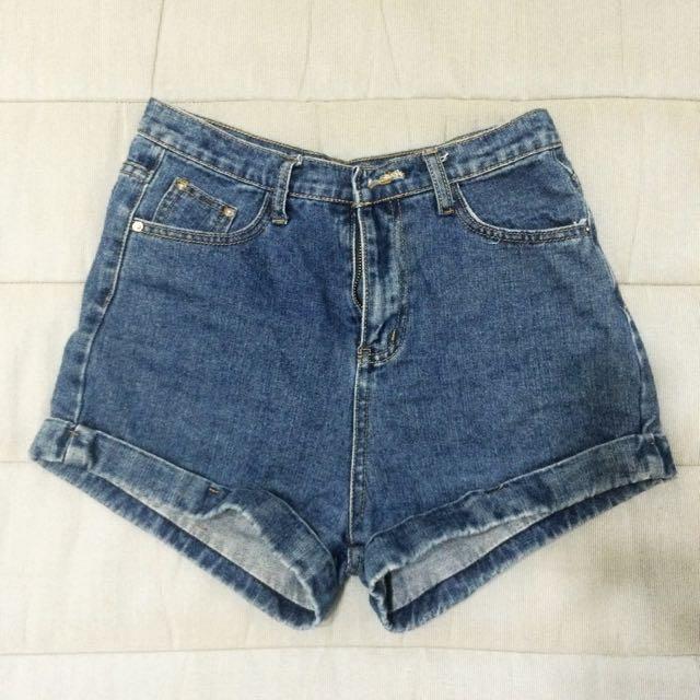 反折牛仔褲(深藍)