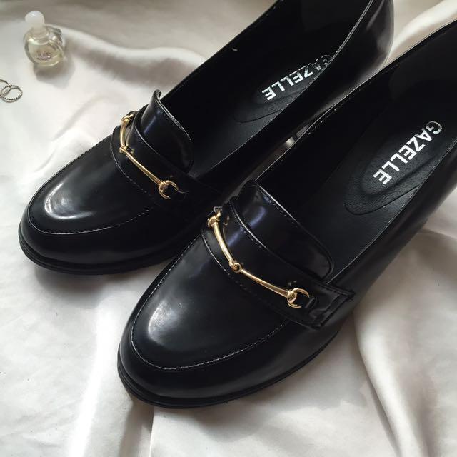 (免運)復古金屬環釦低跟鞋 皮鞋 樂福鞋
