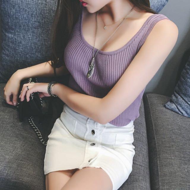 98🆕紫色》🇰🇷性感露肩無袖彈力小背心