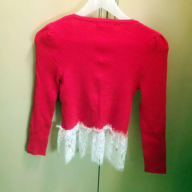 韓國製造進口 紅色針織外套 上衣 全新 Koera Red Knitted Top Coat Korean New