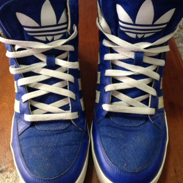 Adidas High Top Blue And White Sneaker