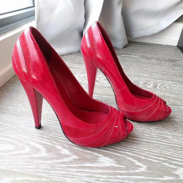 Aldo Red Suede & Patent Leather Heels