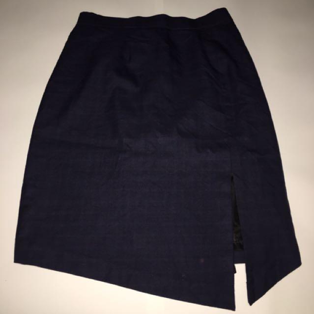 Assymetric Navy Blue Skirt