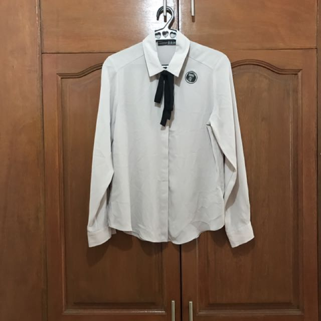 ATMOSPHERE (British Brand) - Light Gray, Long Sleeved Blouse With Bow