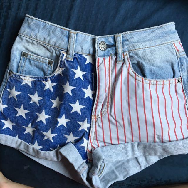 a3eccdbebe7a AUTHENTIC TOPSHOP MOTO AMERICAN USA FLAG LIGHT WASH DENIM HIGH MID ...
