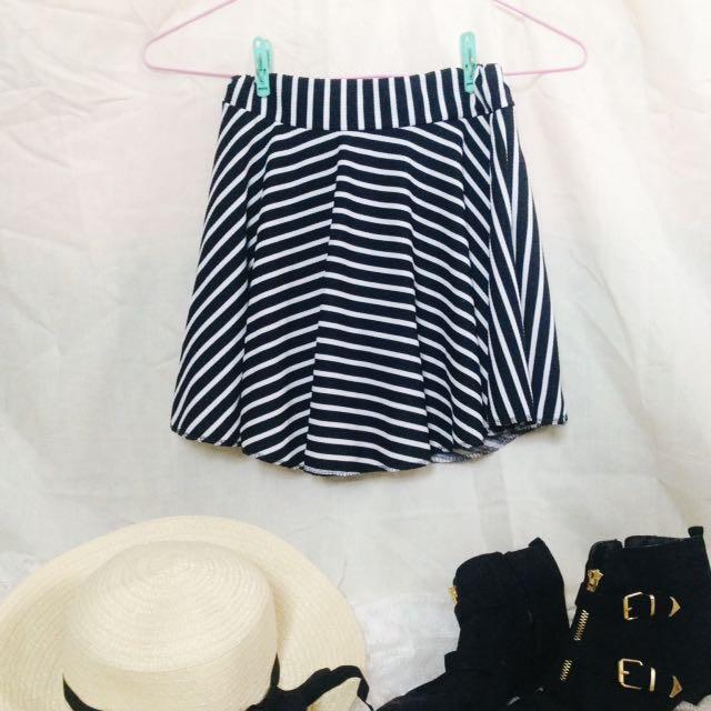 REPRICED! Black And White Stripes Skater Skirt