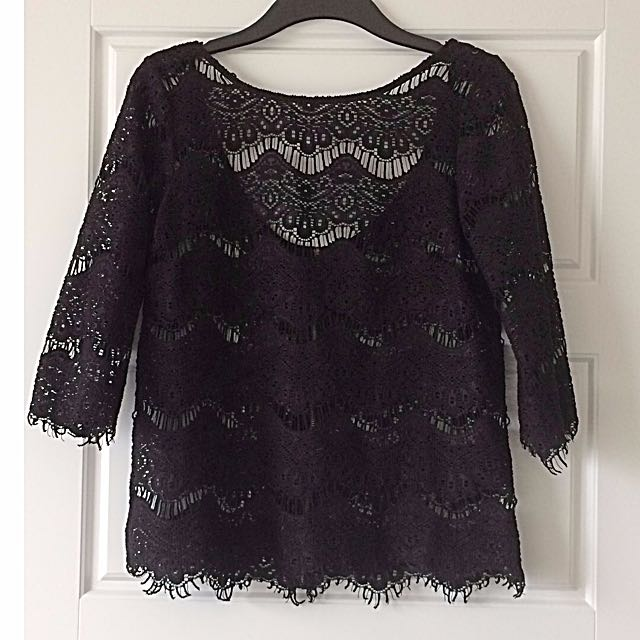Black Lace Zara top with v-back (S)