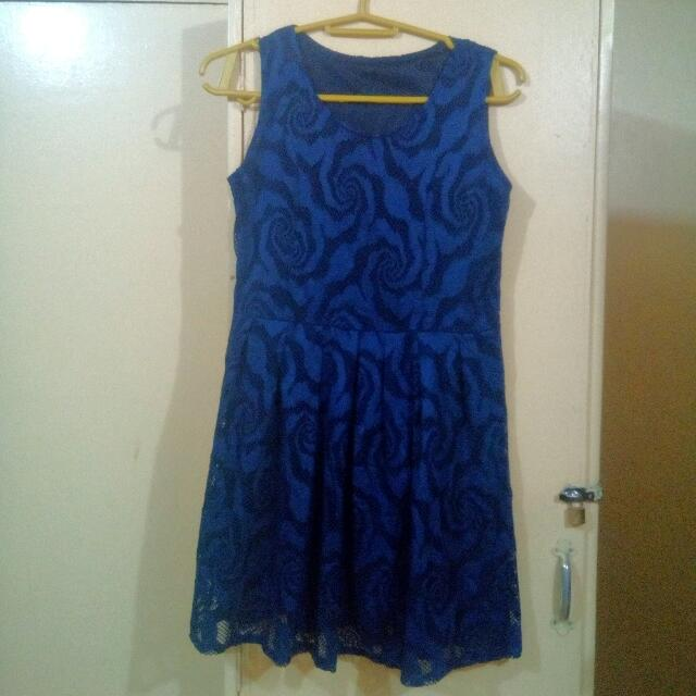 Blue dress with pattern design