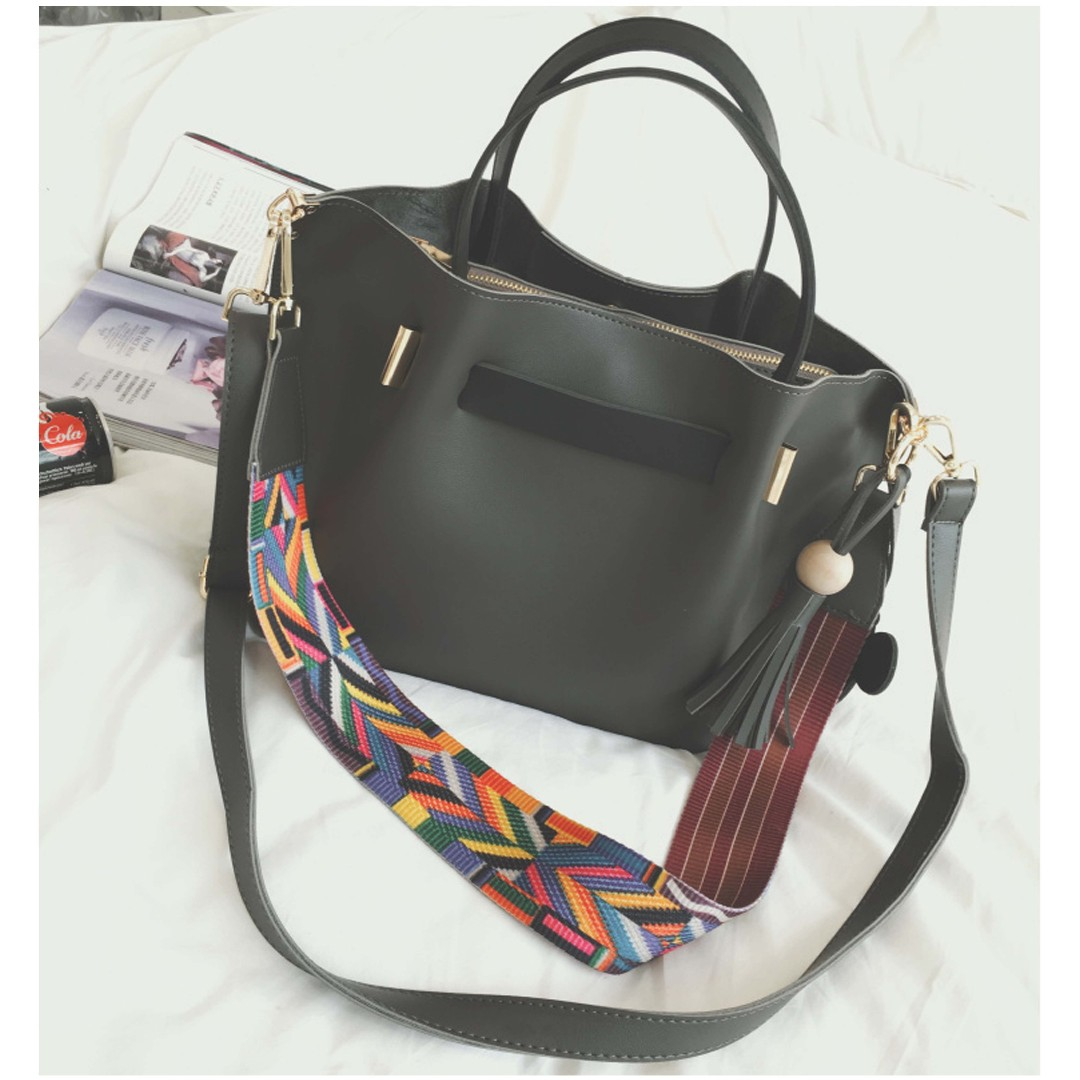 Brand New 2 In 1 Tribal Bucket Bag With Sling Charm And Tassels Tote Shoulder Retro Minimalist Women S Fashion