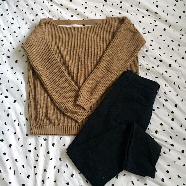 Camel Knit Jumper w/ Open Back