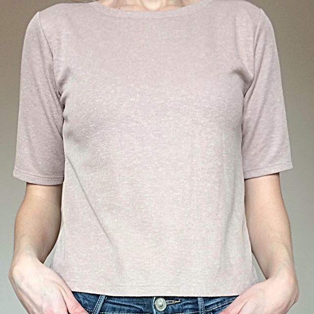 Cropped Pink Topshop T-shirt with zip detail at back (S)