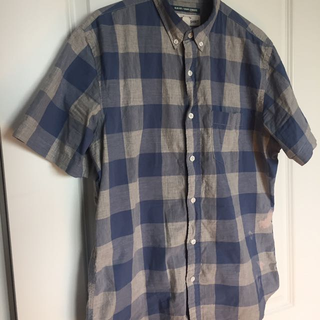 Gray and blue gingham button-down T-shirt