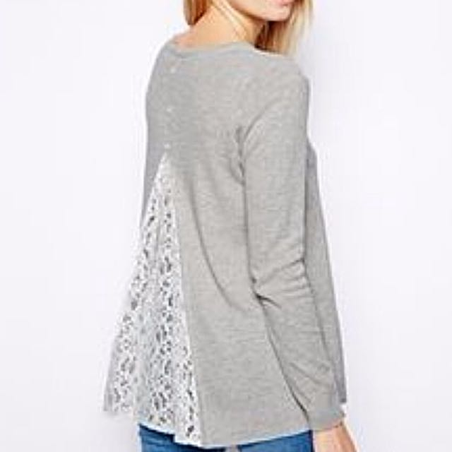 Grey ASOS Jumper With Lace Insert (S)