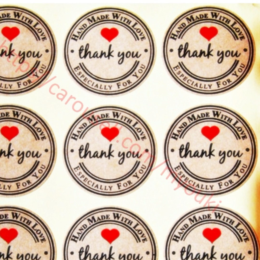 Handmade with love stickers 12 stickers thank you stickers customized stickers design craft art prints on carousell