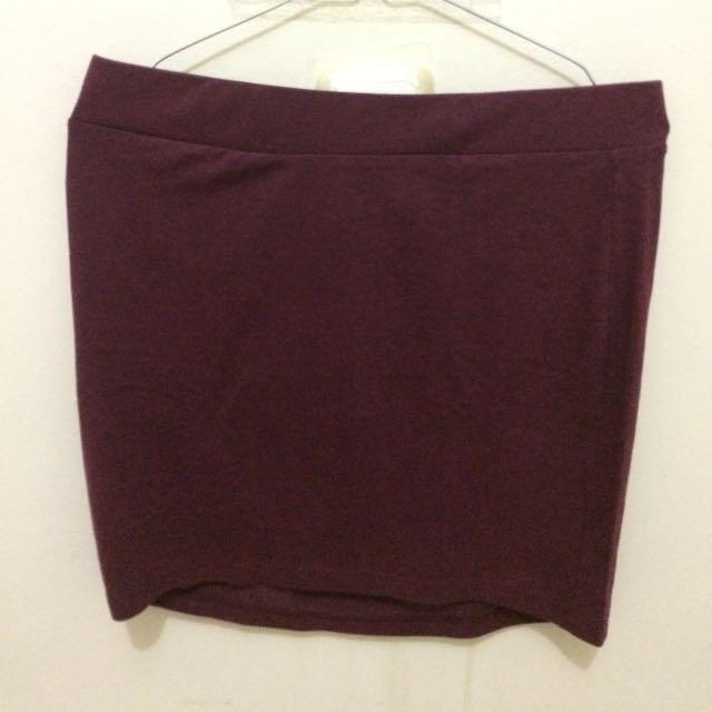 H&M Devided Mini Skirt Maroon