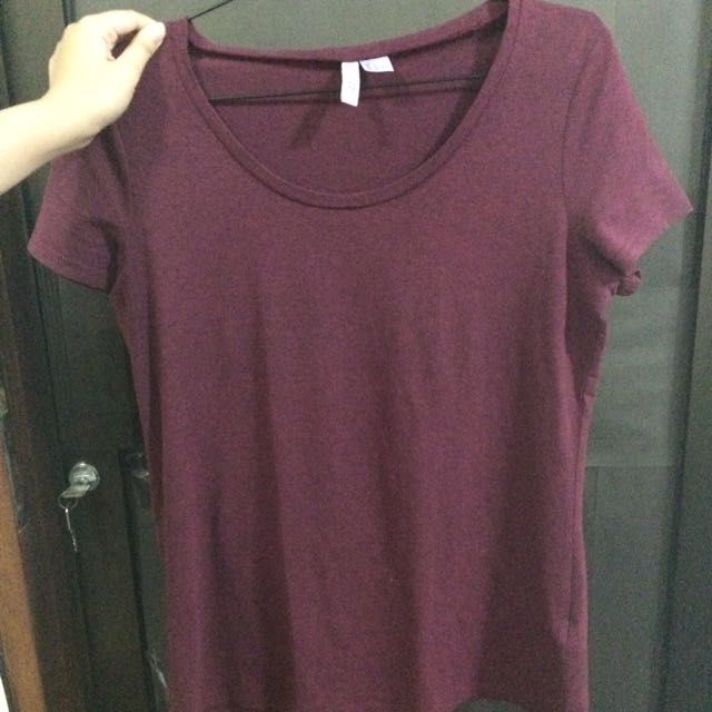 h&m top polos maroon