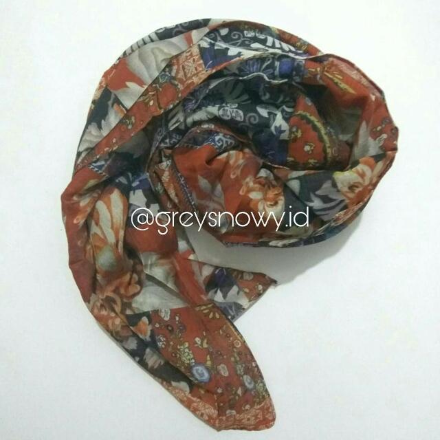 Jilbab Hijab Segiempat Motif Cotton Silk