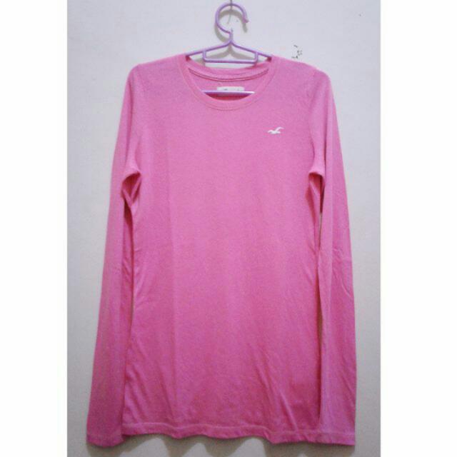 Kaos Panjang Top Atasan Pink Blouse Longsleeve
