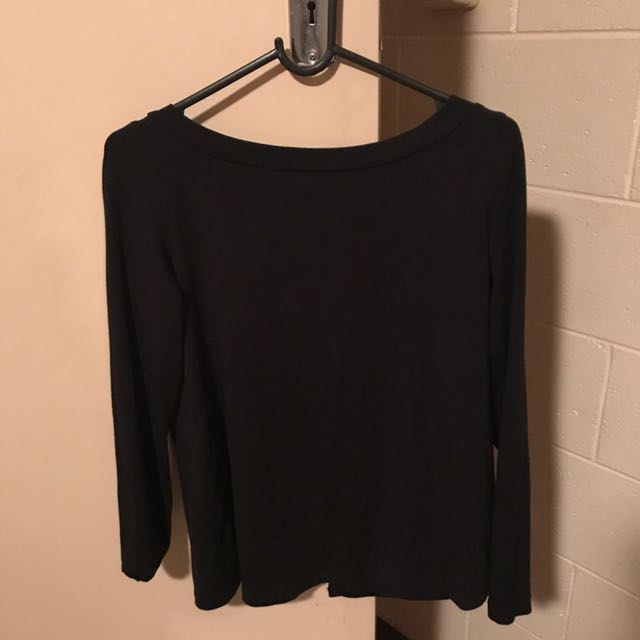 Kookai Black Long Sleeve With Cut Out In Back Size 1