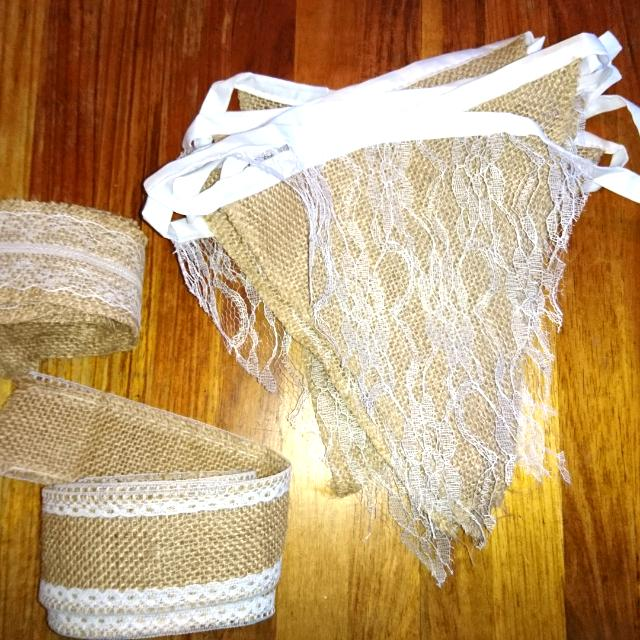 Lace And Hessian Bunting And Ribbon