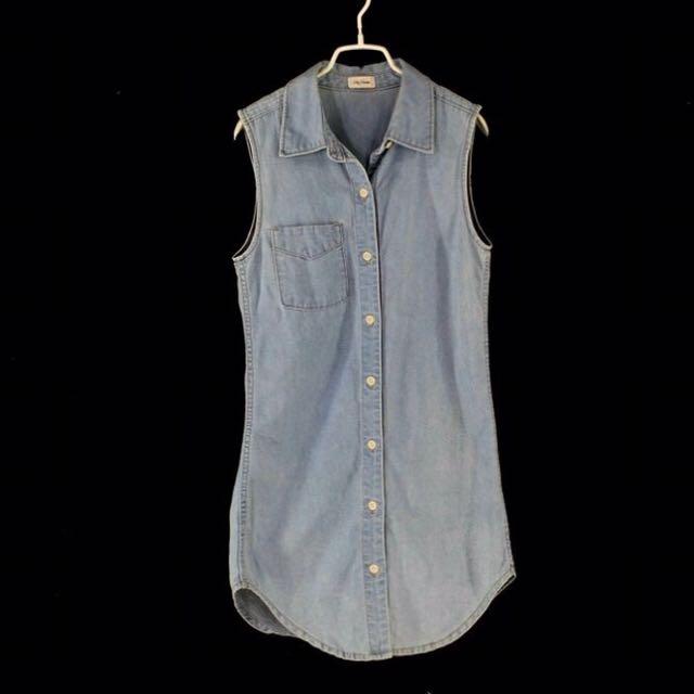 日本【Lily Brown】藍色刷舊款無袖牛仔洋裝