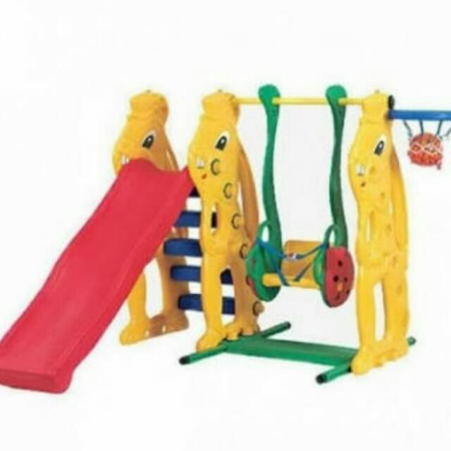 Mainan Ayunan & Prosotan Rabbit Slide With Ladybug Swing Basketball Set Ching-Ching