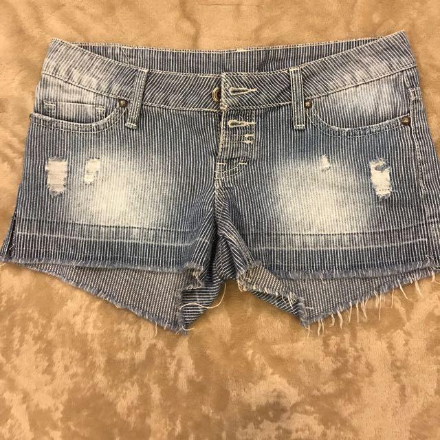 Mango Ripped Denim Pinstripe Shorts