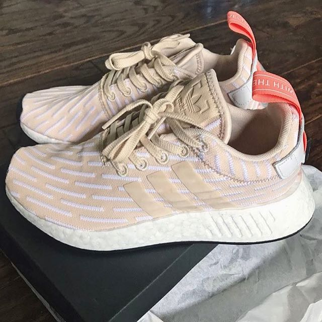 cd56c4fbd7ab57 NEW  Adidas NMD R2 PK Beige Linen With Sunglow Peach Tab