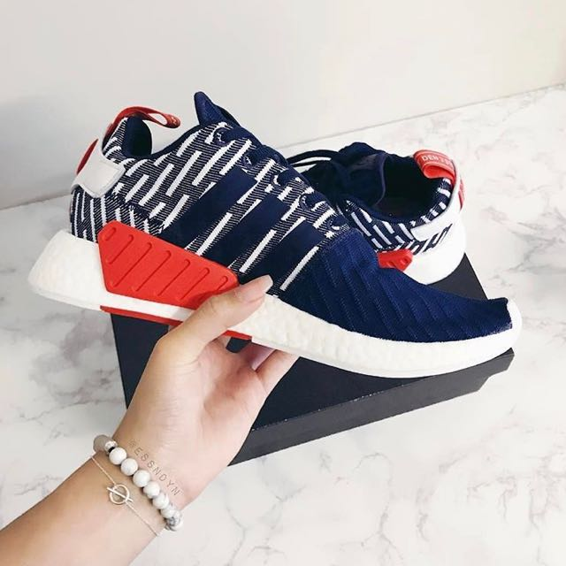 5fc7b110fd45 New Adidas NMD R2 PK Collegiate Navy   White Glitch Stripes With Red ...